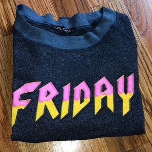 Navy Friday Cropped Wildfox Sweatshirt